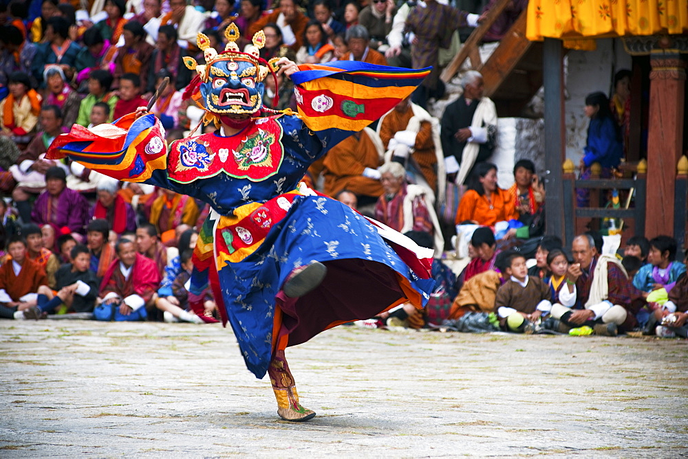 Traditional dancers at the Paro festival, Paro, Bhutan, Asia - 1186-13