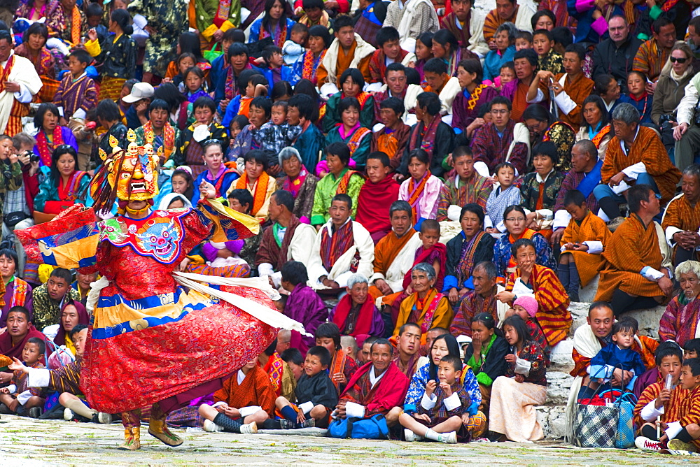 Traditional dancer at the Paro festival, Paro, Bhutan, Asia