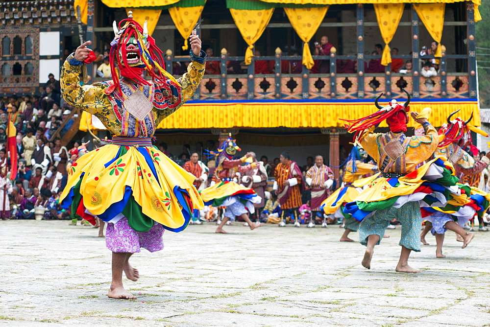 Traditional dancers at the Paro festival, Paro, Bhutan, Asia - 1186-19