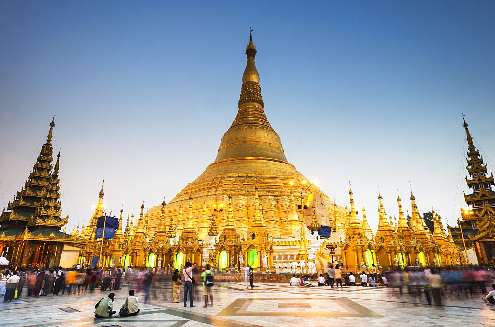 Early evening at Shwedagon Pagoda, Yangon (Rangoon), Myanmar (Burma), Asia - 1186-23