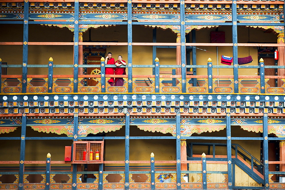Buddhist monks at Rinpung Dzong, Paro District, Bhutan, Asia - 1186-3
