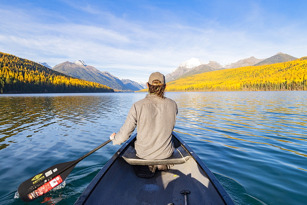 Canoeing across Bowman Lake, Glacier National Park, Montana, United States of America, North America