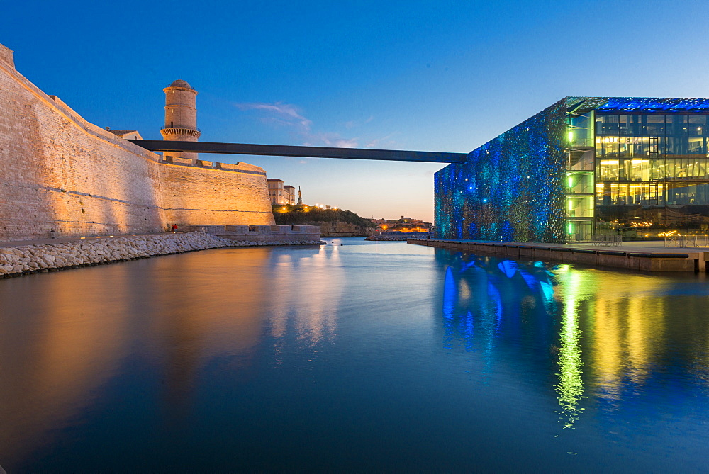 MUCEM and Fort Saint Jean, Marseille, Bouches du Rhone, Provence, Provence-Alpes-Cote d'Azur, France, Europe