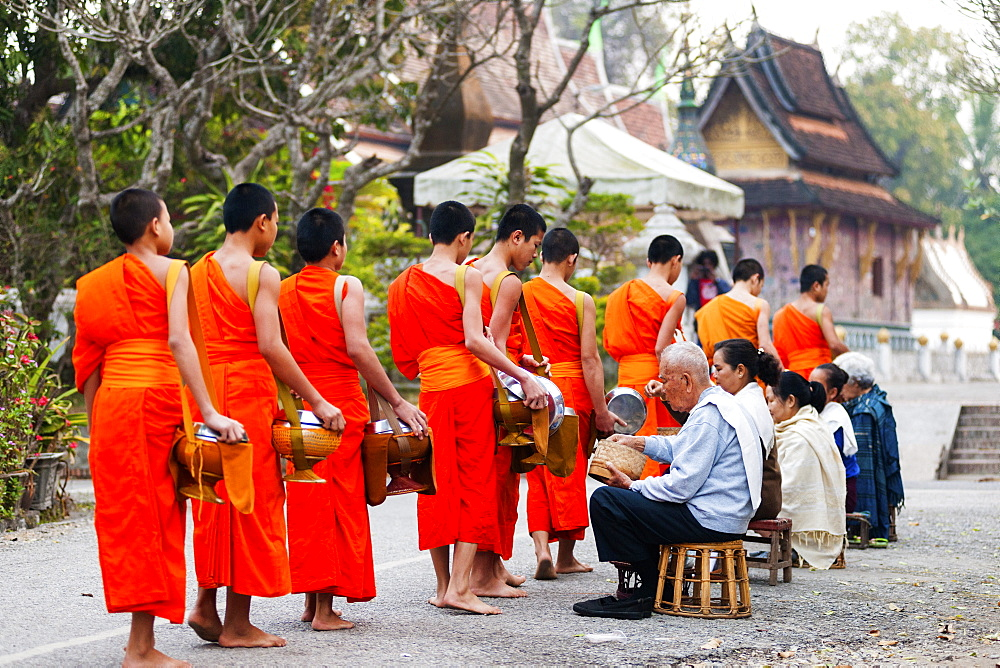 Monks recieving morning alms and Xieng Thong Monastery in the background, Luang Prabang, Laos, Indochina, Southeast Asia, Asia - 1186-55