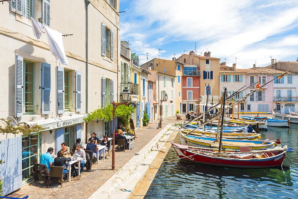 Boats and restaurant in Martigues port, Bouches-du-Rhône, France,
