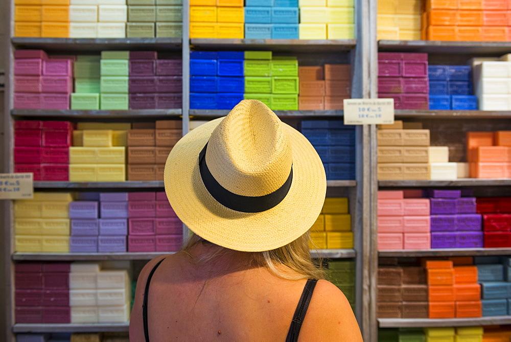Colourful soaps Aix en Provence, Bouches du Rhone, Provence, Provence-Alpes-Cote d'Azur, France, Europe