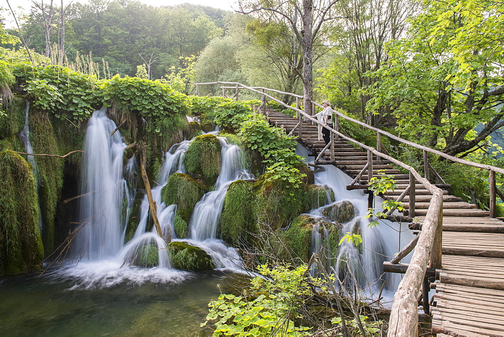 Waterfall in Plitvice Lakes National Park, UNESCO World Heritage Site, Croatia, Europe