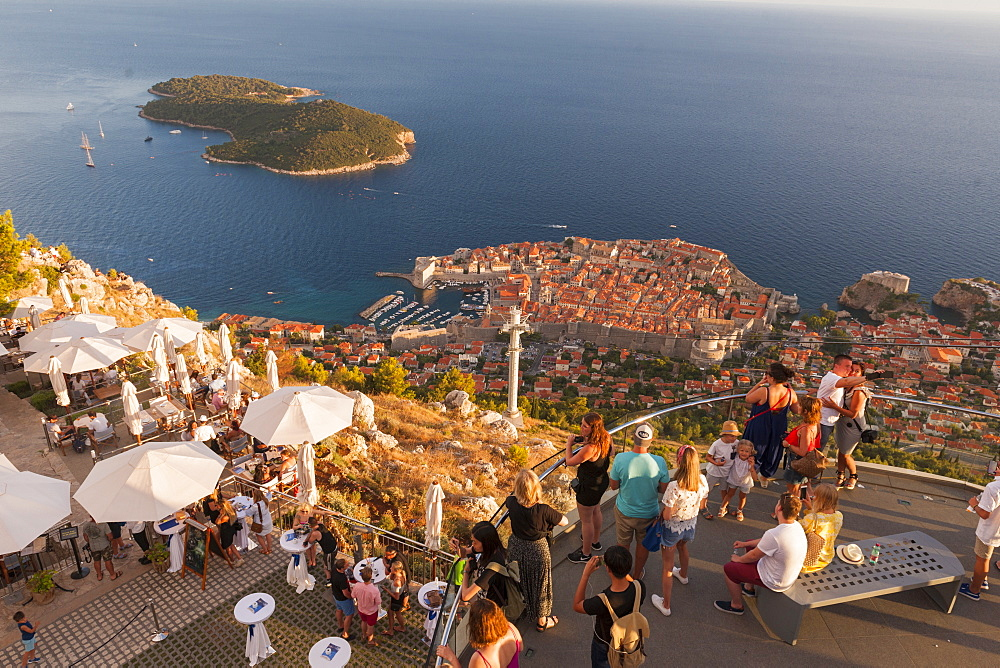 Aerial view of the old town from a restaurant on top of Srd mountain Dubrovnik, Croatia