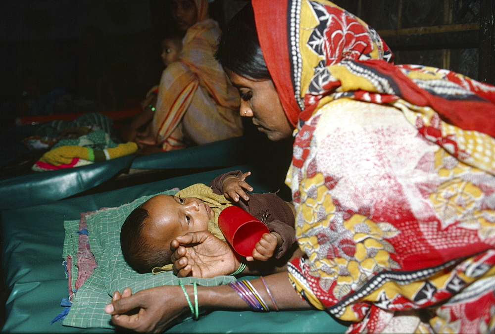Diarrhoea hospital, bangladesh - dacca. International centre for diarrhoeal disease research hospital. A child receiving treatment for diarrhoea. Most cases of childhood diarrhoea can be treated with oral rehydration solution. Serious or neglected cases have to be treated in hospitals or field hospitals. Diarrhoel diseases are the main causes of death in bangladesh and in many developing countries