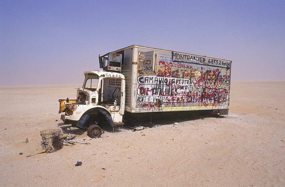 Transport, mauritania. Rusting truck in the desert.