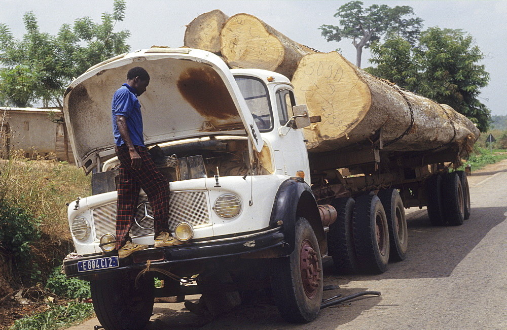 Timber truck, ivory coast. Daloa town. Broken down timber truck