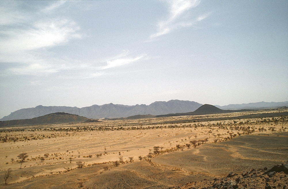 Desertscape, niger (west africa). Sahelian landscape. Semi-arid land prone to drought and erosion. The name is derived from the arabic word for shore