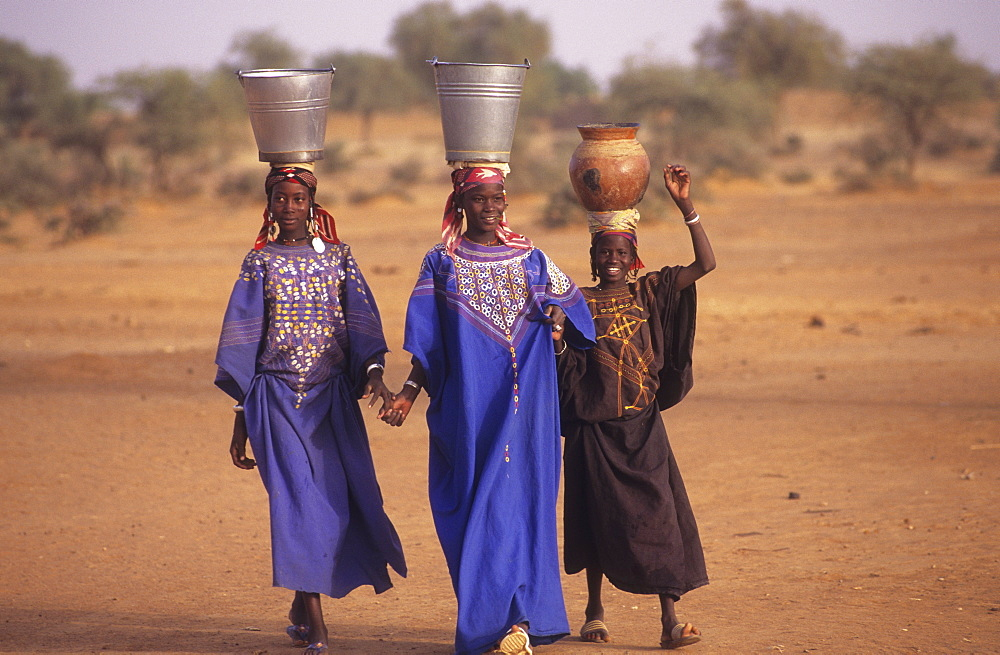 Collecting water, burkina faso. nr gorom-gorom. Bella nomad girls carry water back to camp