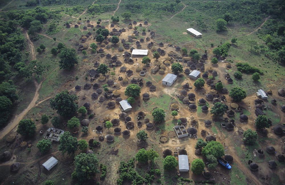 Aerial view, ivory coast. Dioulatiedougou village.