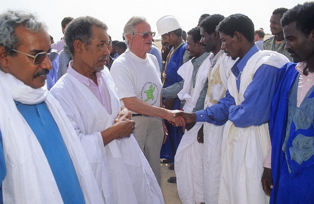 Dr luc hoffman, mauritania. Banc darguin national park. Dr luc hoffman, president of hoffman laroche, is a patron of the park, meeting imaraguen fishermen.