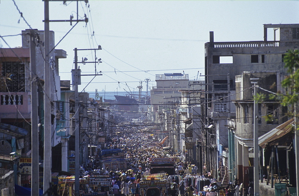 Crowded city street, haiti. Port, au, prince. Crowded street.
