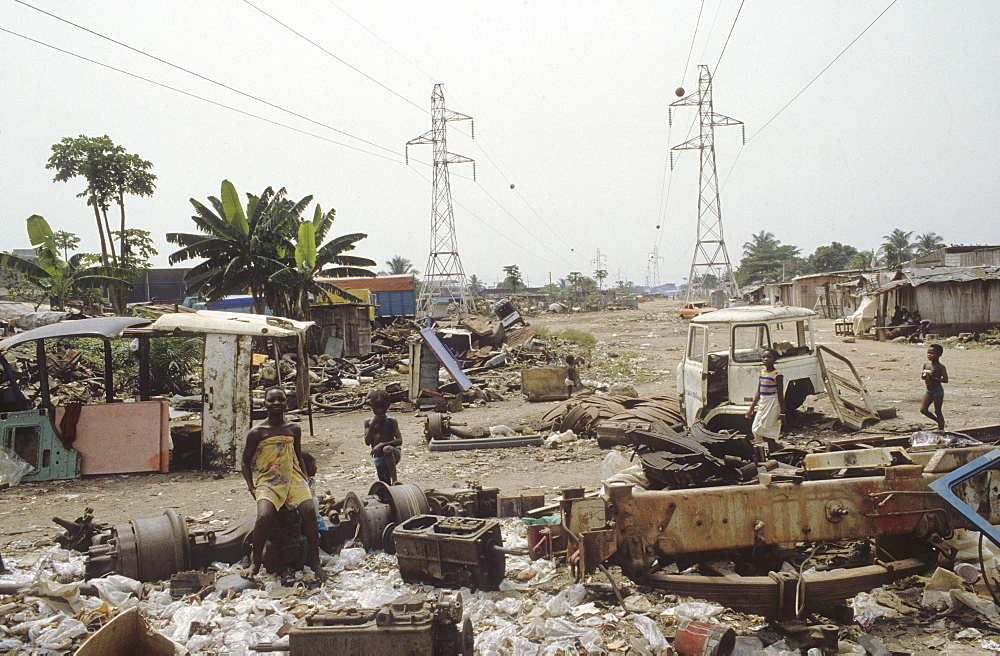 Slum, cote d ivoire. Abidjan. Poor area of the city