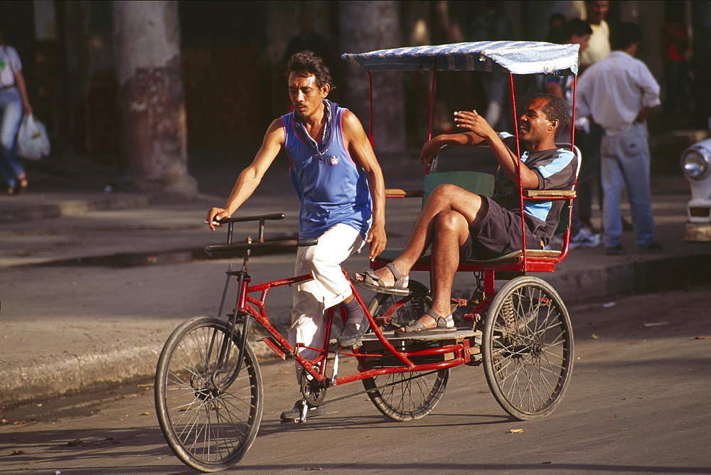 Cuba, transport, havana. Petrol shortage has encouraged the use of bicycle rickshaws