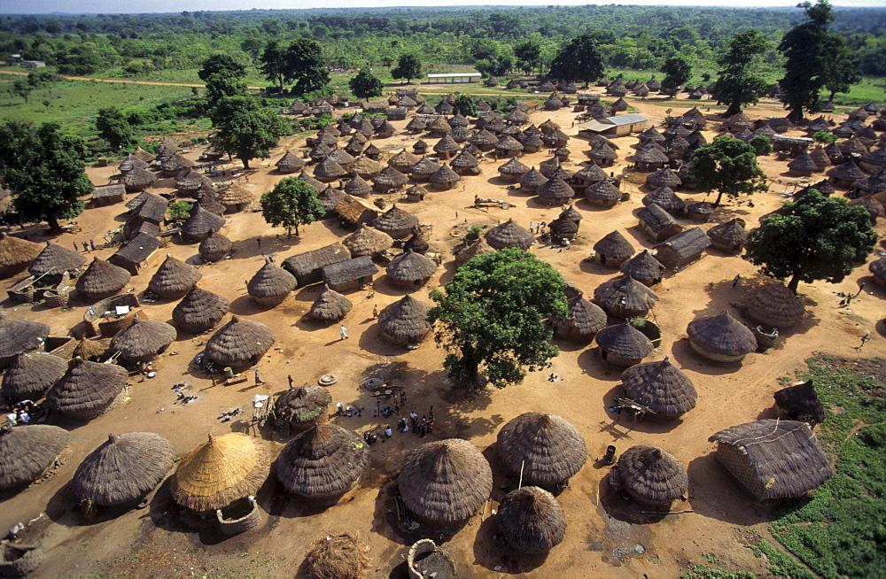 Village life, ivory coast. Dioulatiedougou village. Aerial view. S066-3