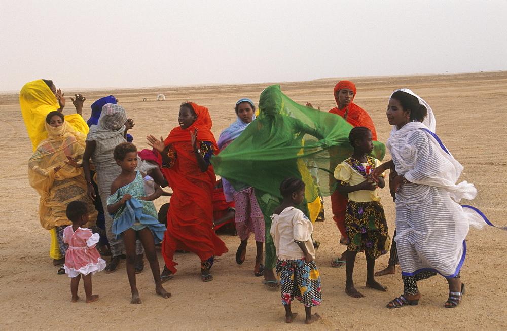 Celebration party, mauritania. Banc darguin national park. Imaraguen women celebrate the arrest of pirate fishermen.