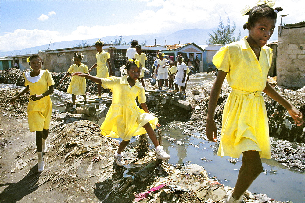 SCHOOL CHILDREN, HAITI. Port-au-Prince, Cite Soleil slum