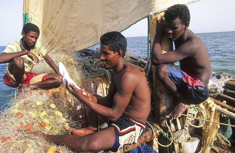 Fishermen, mauritania. Banc darguin national park. Imaraguen ethnic fishermen compete with illegal trawlers for golden mullet. Wwf are teaching them sustainable fishing practise