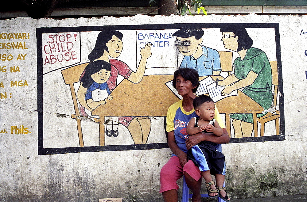 Child healthcare, philippines. Manila. Publicity poster against child abuse