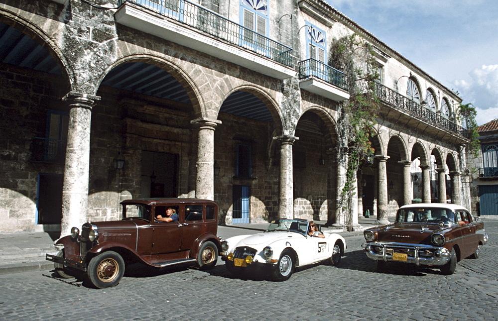 Cuba classic cars before a rally havana