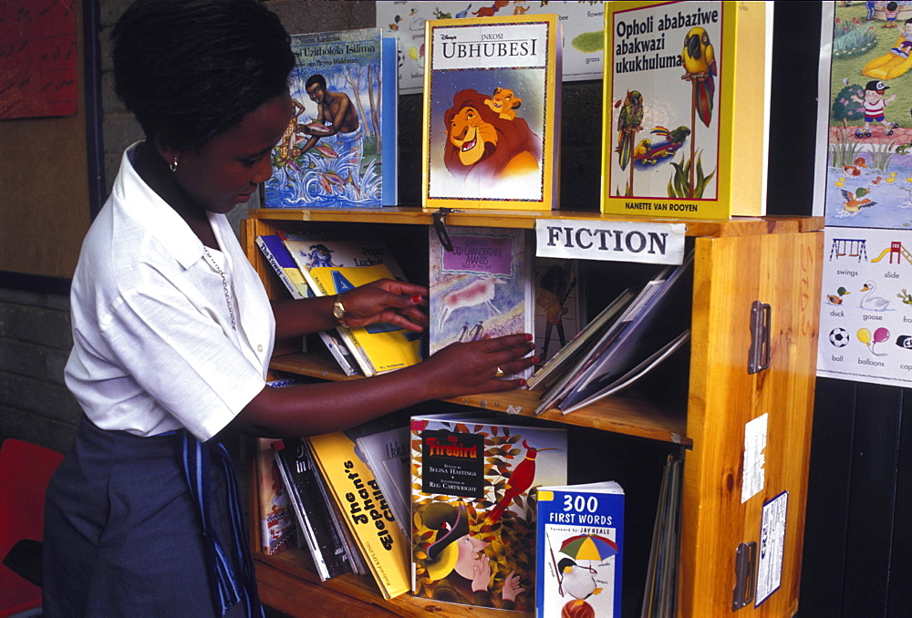 Education, south africa. Soweto. Library in a primary school