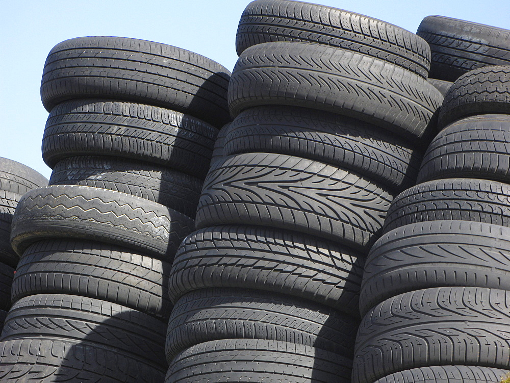 Uk. Tyres in a recycling centre in tower hamlets, london