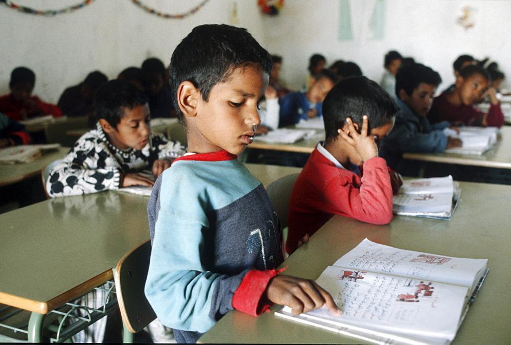 Western sahara. Primary school class in polisario camp.