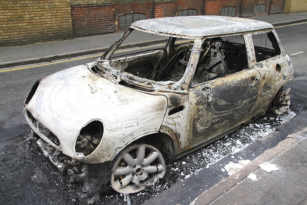 Damage caused by rioters in Hackney, London, UK ;