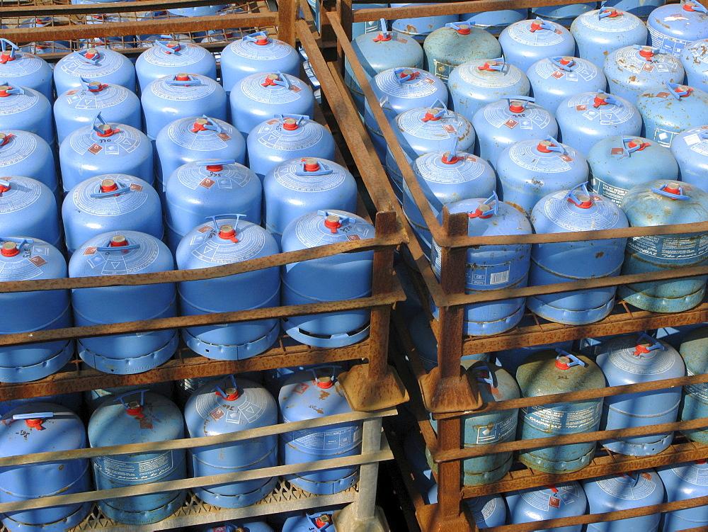 Uk. Calor gas bottles in a depot in tower hamlets, london, england.