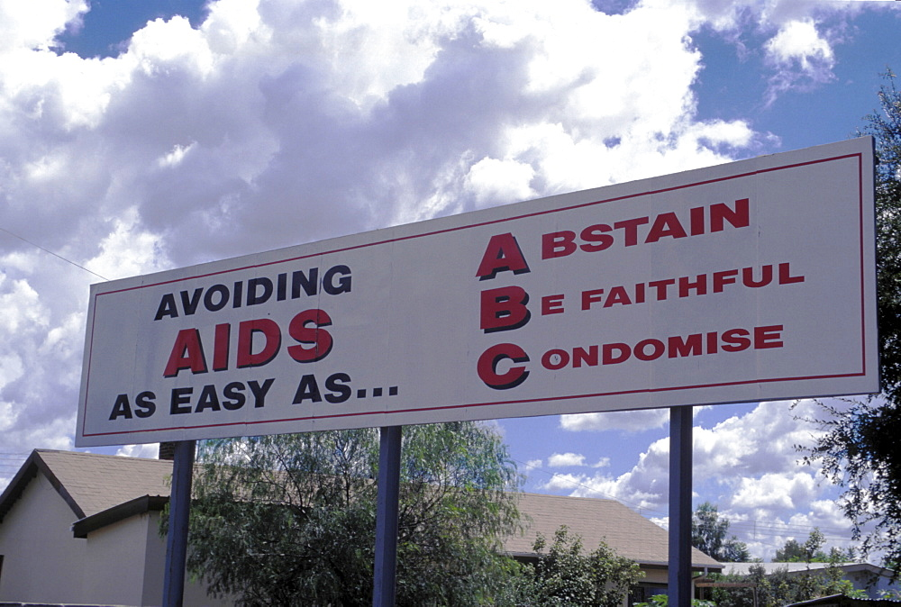 Healthcare, botswana. Gaborone. Hiv/aids awareness billboard