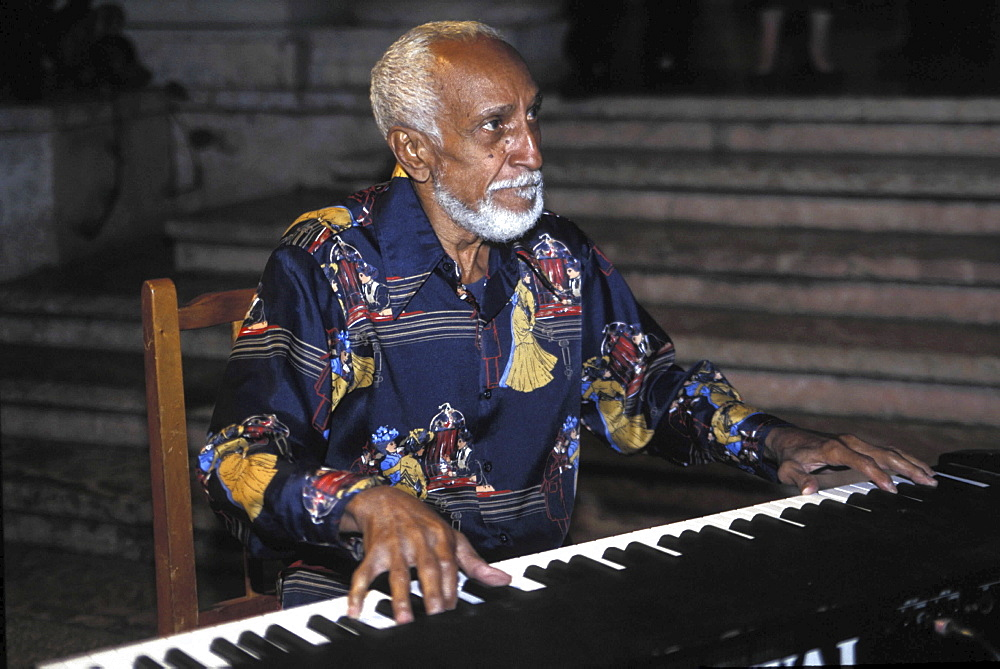 Salsa music, cuba. Havana. Pianist ruban gonzales of the buena vista social club performing