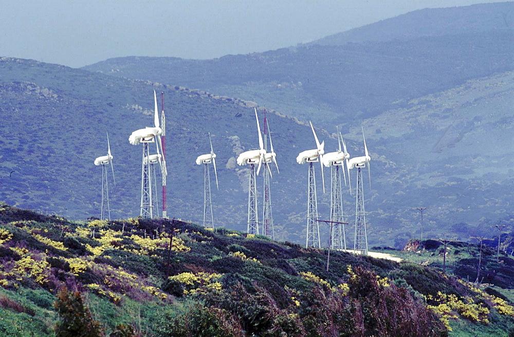 Spain, wind mill ecological park near almeria.