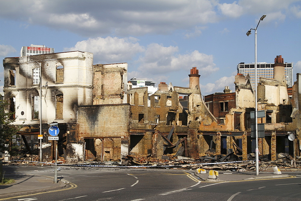 Damage to property after riots and looting in Croydon, London, UK ;