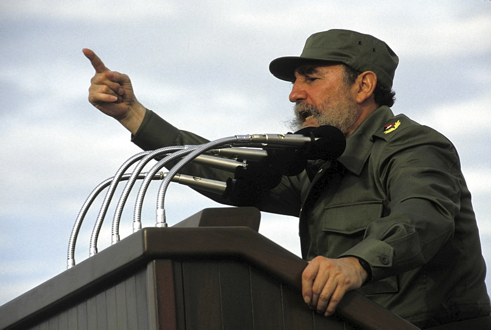 Fidel castro, cuba. Havana. The former cuban president at a rally in revolution square