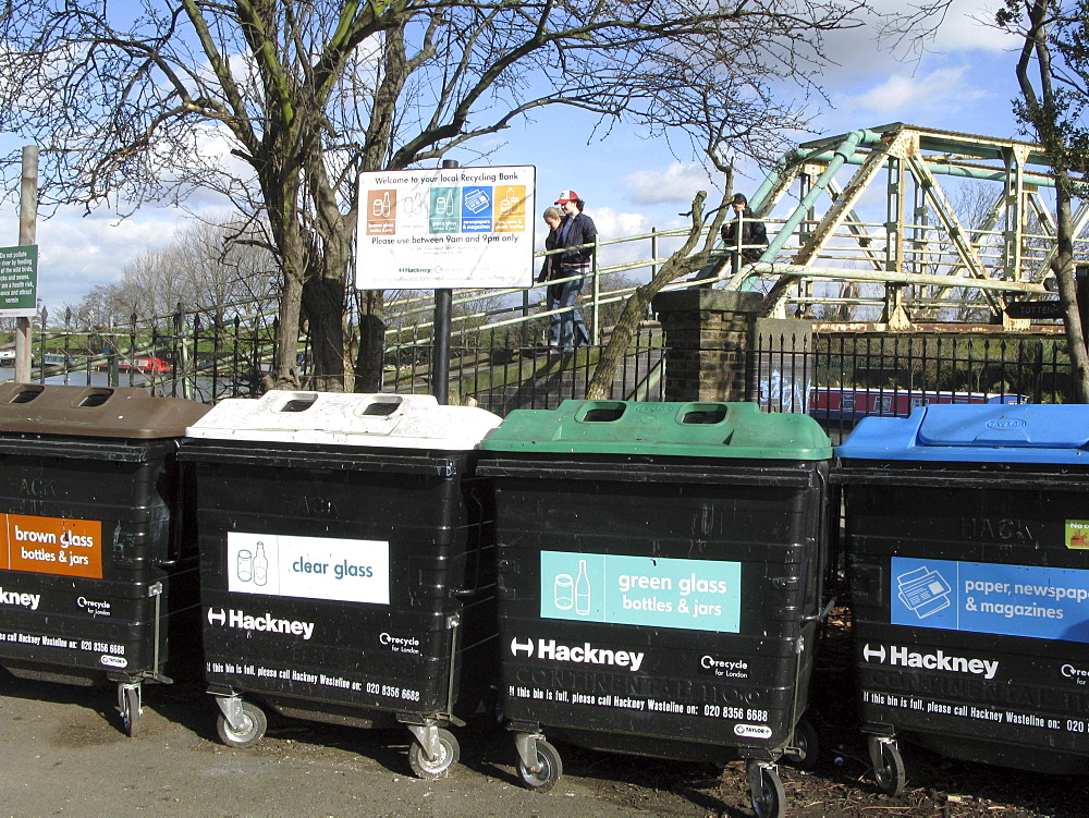 Uk recycling bins by the leigh canal in clapton, london