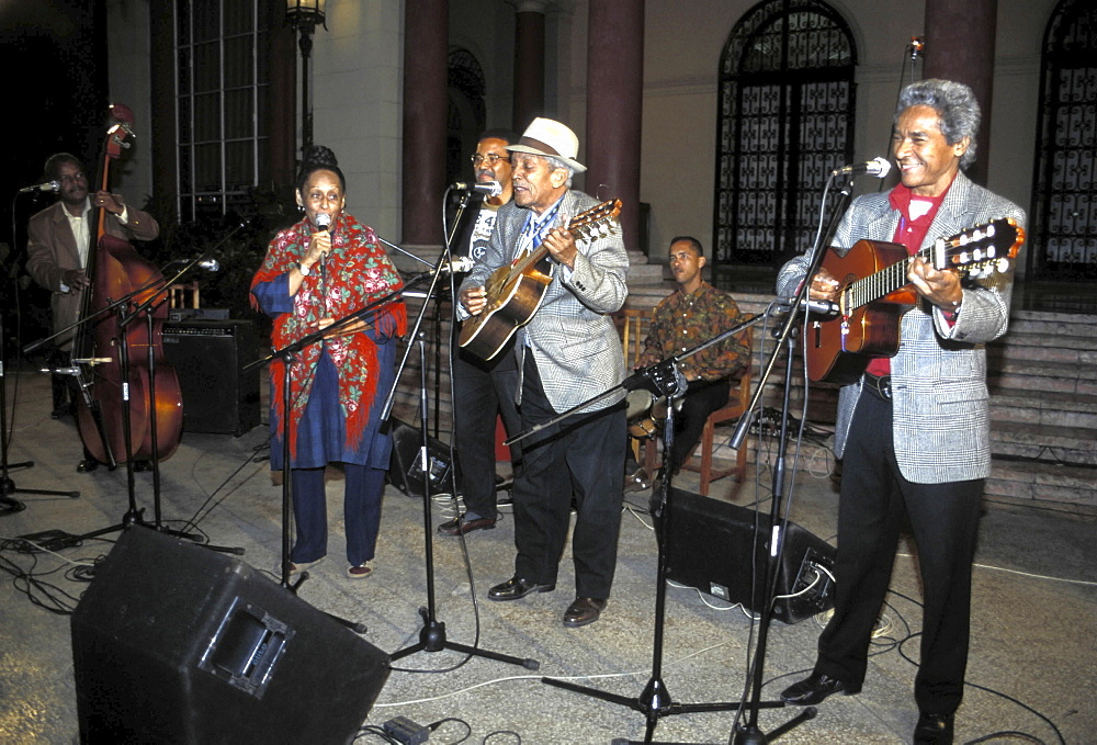 Salsa music, cuba. Havana. Compay segundo and omara portuondo performing