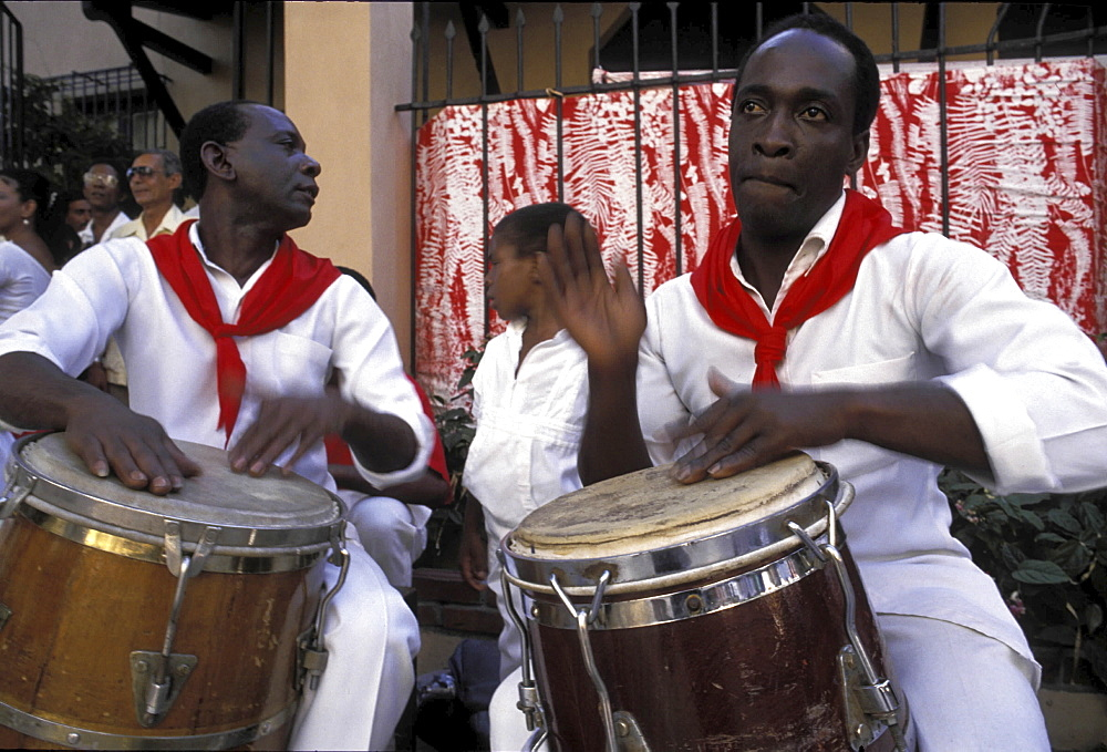 Music, cuba. Havana. Afro-cuban musicians playing drums