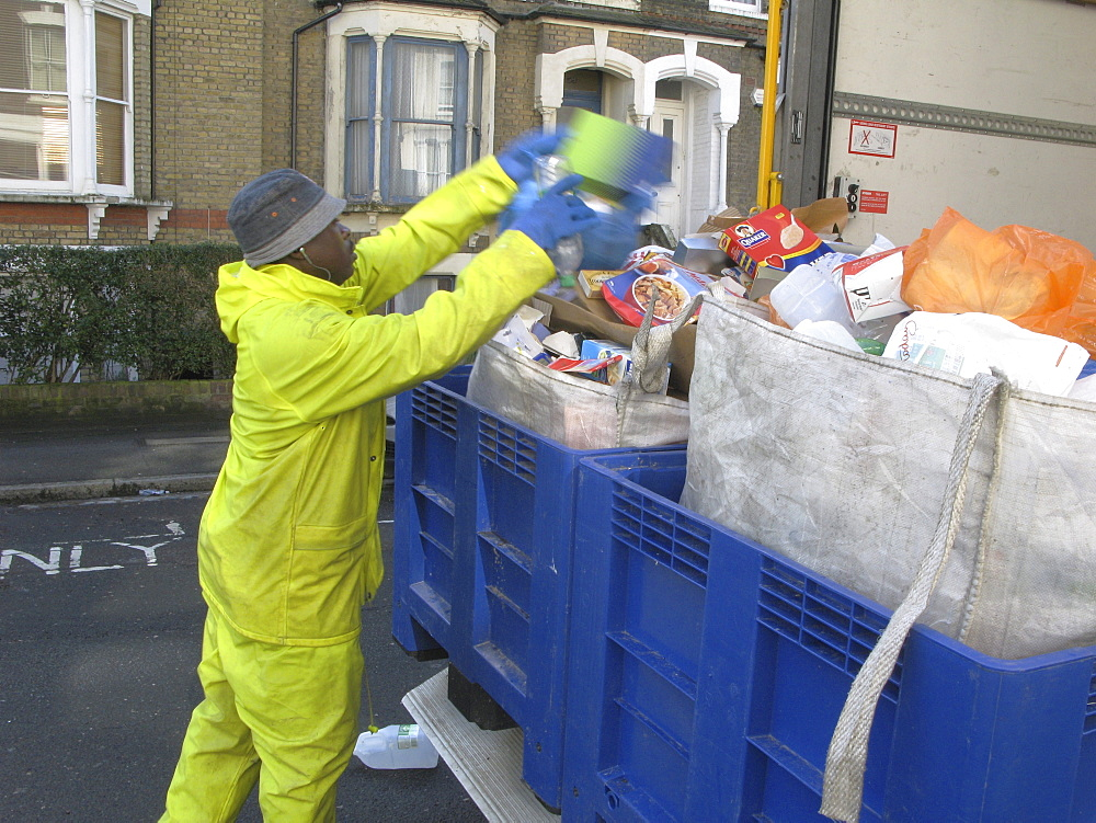 Uk recycling collection in hackney, london