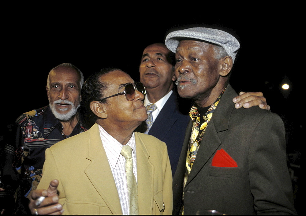 Salsa music, cuba. Havana. Ibrahim ferrer, singer with the buena vista social club, with the late 'puntillita', ruben gonzales and cachao. Taken in november 2000