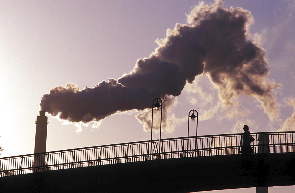 Air pollution, germany. Smoke form an industrial plant near leipzig