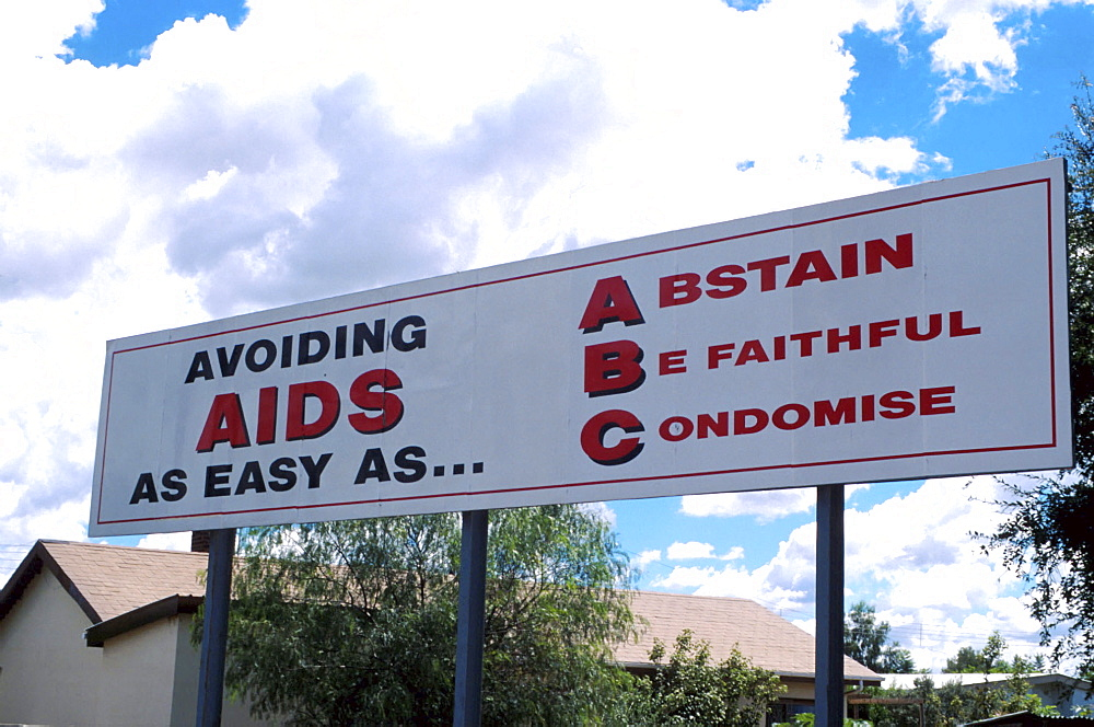 Bostwana, hiv-aids awareness billboard. Gaborone.