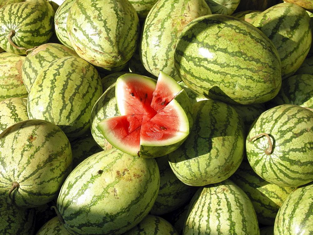 India. Watermelons in rural kerala.