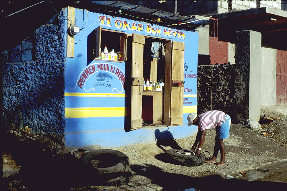 Haiti, tyre service. Jacmel 1998