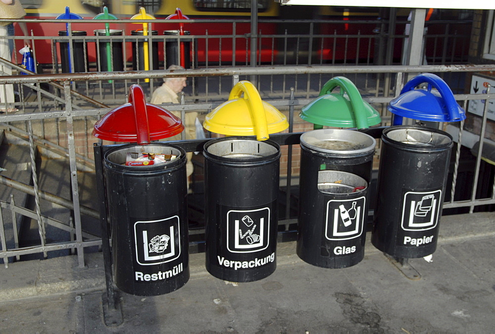Germany. Recycling bins in a train station in berlin photo julio etchart