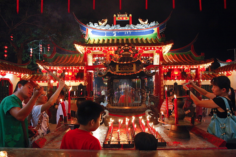Chinese New Year celebrations in the temple pagoda in Sibu, Sarawak, Borneo, Malaysia, Southeast Asia, Asia