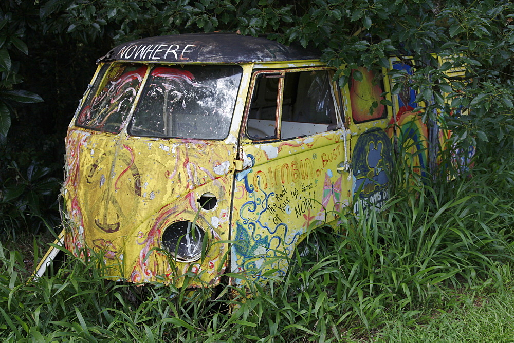 Camper van in the hippy town of Nimbin, where the 1973 New Age Aquarius festival was held, New South Wales, Australia, Pacific